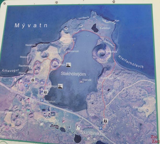 CARTE Skutustadir Lac Myvatn pseudocratères Skútustadagígar Islande