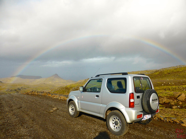 My car under the rainbow on road F570, Snaefellsjokull