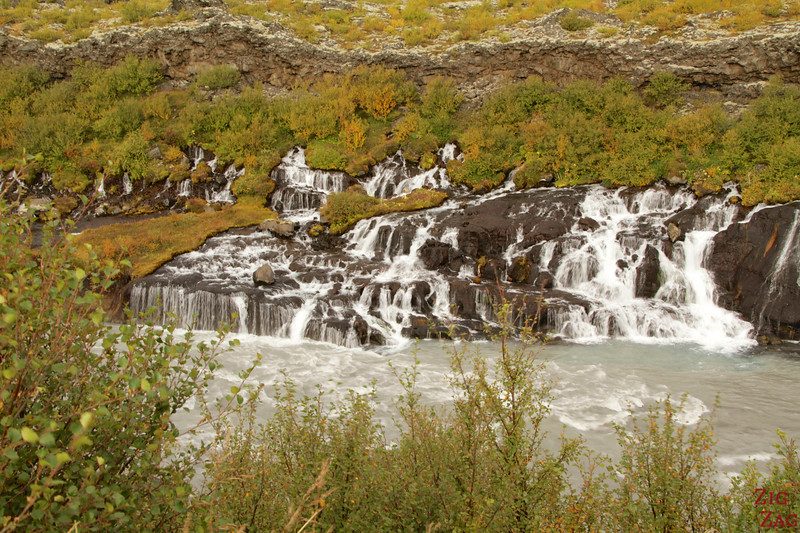 Waterfall through lava - Hraunfossar