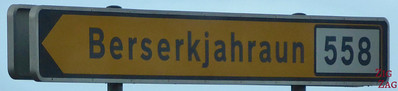 Road sign Berserkjahraun