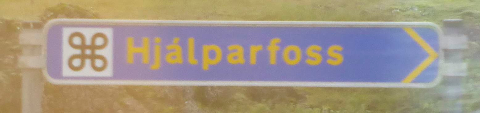 Road sign Hjalparfoss