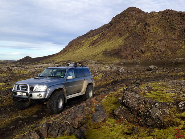 Crossing a lava field in 4WD