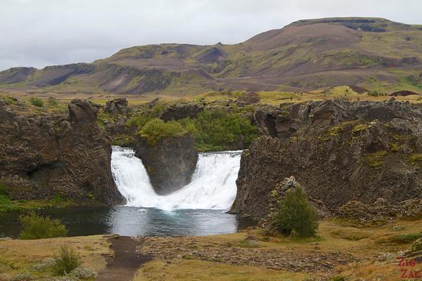 Double branch of Hjalparfoss, Iceland (closer)