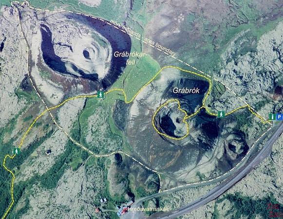 Volcans Grabrok Islande carte