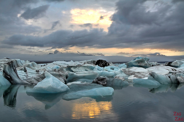 Coucher de soleil Jokulsarlon Islande