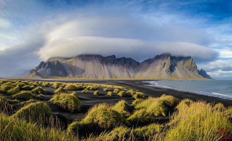 Back Sand dunes at Vestrahorn beach Iceland