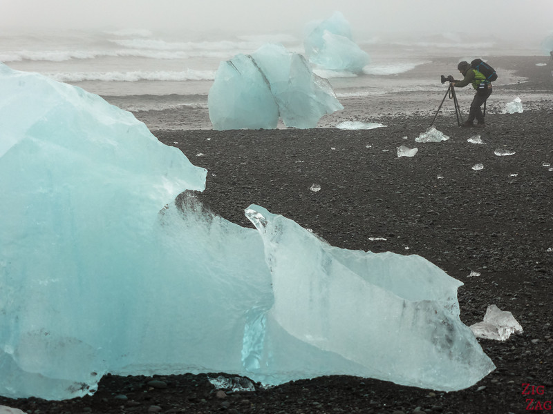 Icebergs Iceland Diamond beach black sand