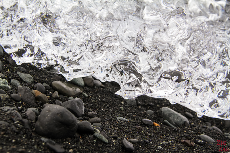 Iceland black sand beach ice