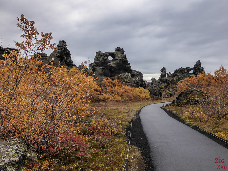 paved walking path Dimmuborgir