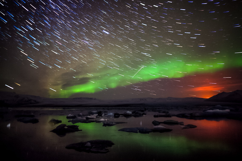 Aurora, StarTrails, Volcano reflection, and airplane
