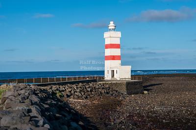 The old Garðskagi Lighthouse at Reykjanes peninsula in Iceland