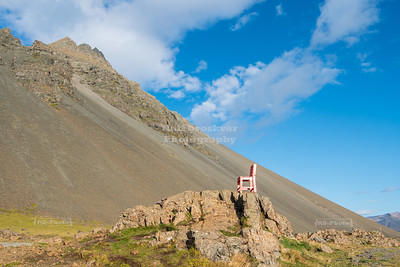 Red Chair along the Ring Road near Þorgeirsstaðir in Eastern Iceland