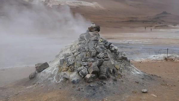 Cone shaped fumarole at Námaskarð Hverir geothermal area in Northeast Iceland