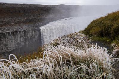 Frozen Grass at Dettifoss Waterfall in Northeast Iceland