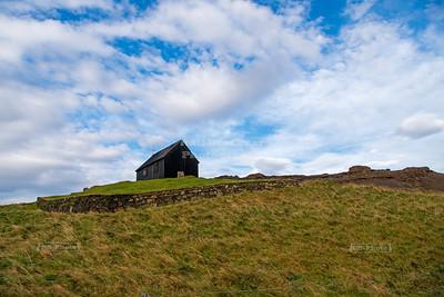 Krýsuvíkurkirkja, a simple wooden church in Krýsuvík, Iceland
