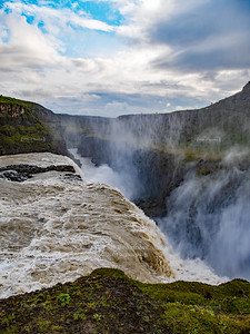 Gullfoss, the Golden Falls, in Southern Iceland