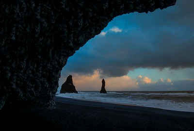 Sea stacks from lava cave