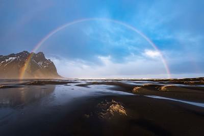 Double rainbow on the beach near Hofn