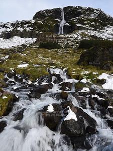 Bjarnarfoss Waterfall on Snæfellsnes Peninsula in Western Iceland