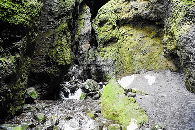 Inside Rauðfeldsgjá Gorge on Snæfellsnes Peninsula in Western Iceland