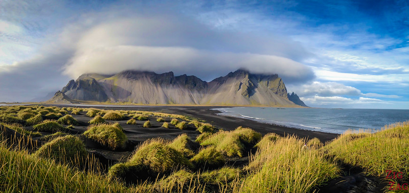 Panorama Vestrahorn Iceland and Stokksnes beach