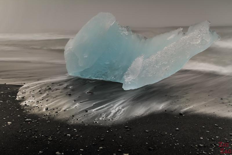 Iceberg sur la plage de Jökulsárlón Islande 4