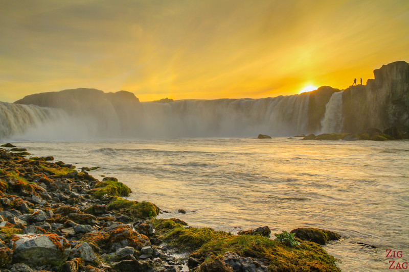 Iceland Godafoss waterfall at Sunset