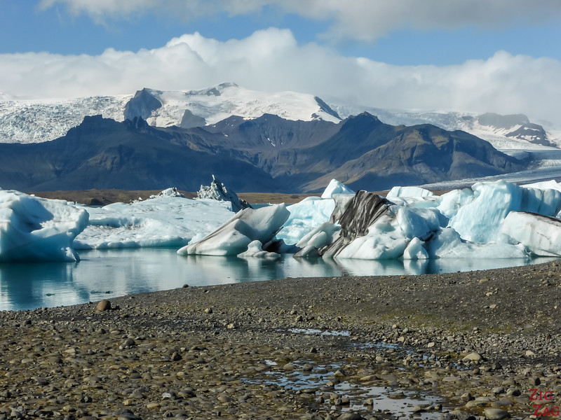 Shore of Jokulsarlon Lake