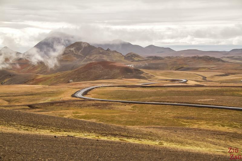route accès Cratère de Krafla Viti Islande