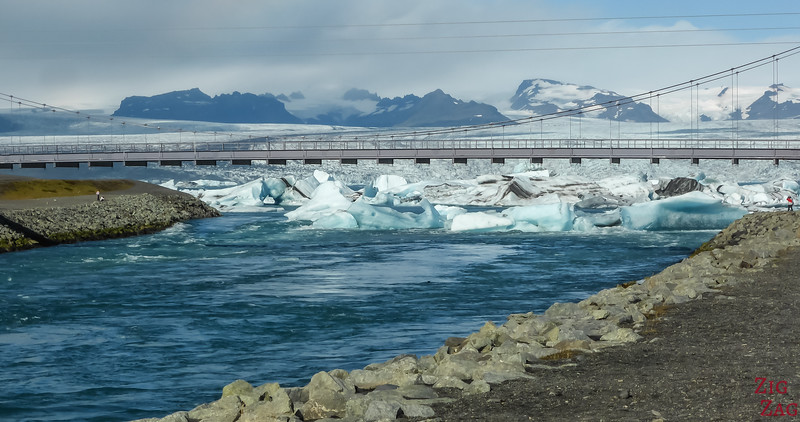 Jokulsa River under the Bridge by Jokulsarlon Glacier Lagoon