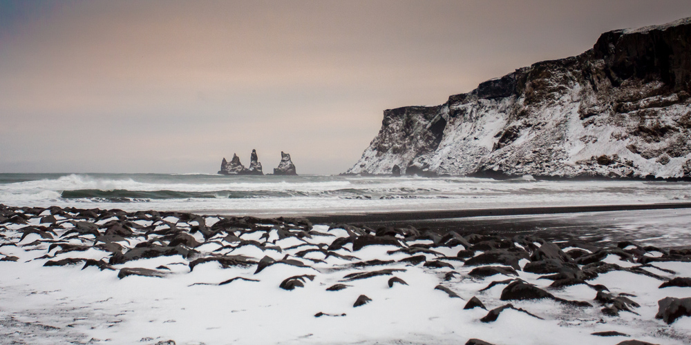 Black Sand Beach Iceland in Winter