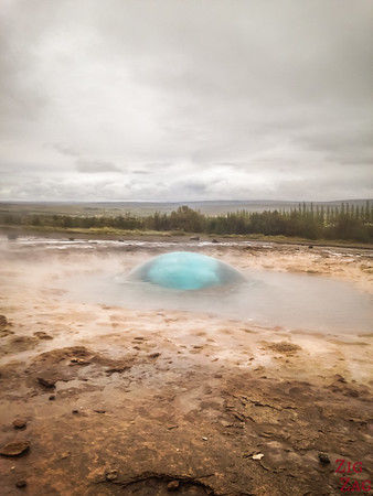 Blue of the Strokkur geyser bubble, Iceland 3