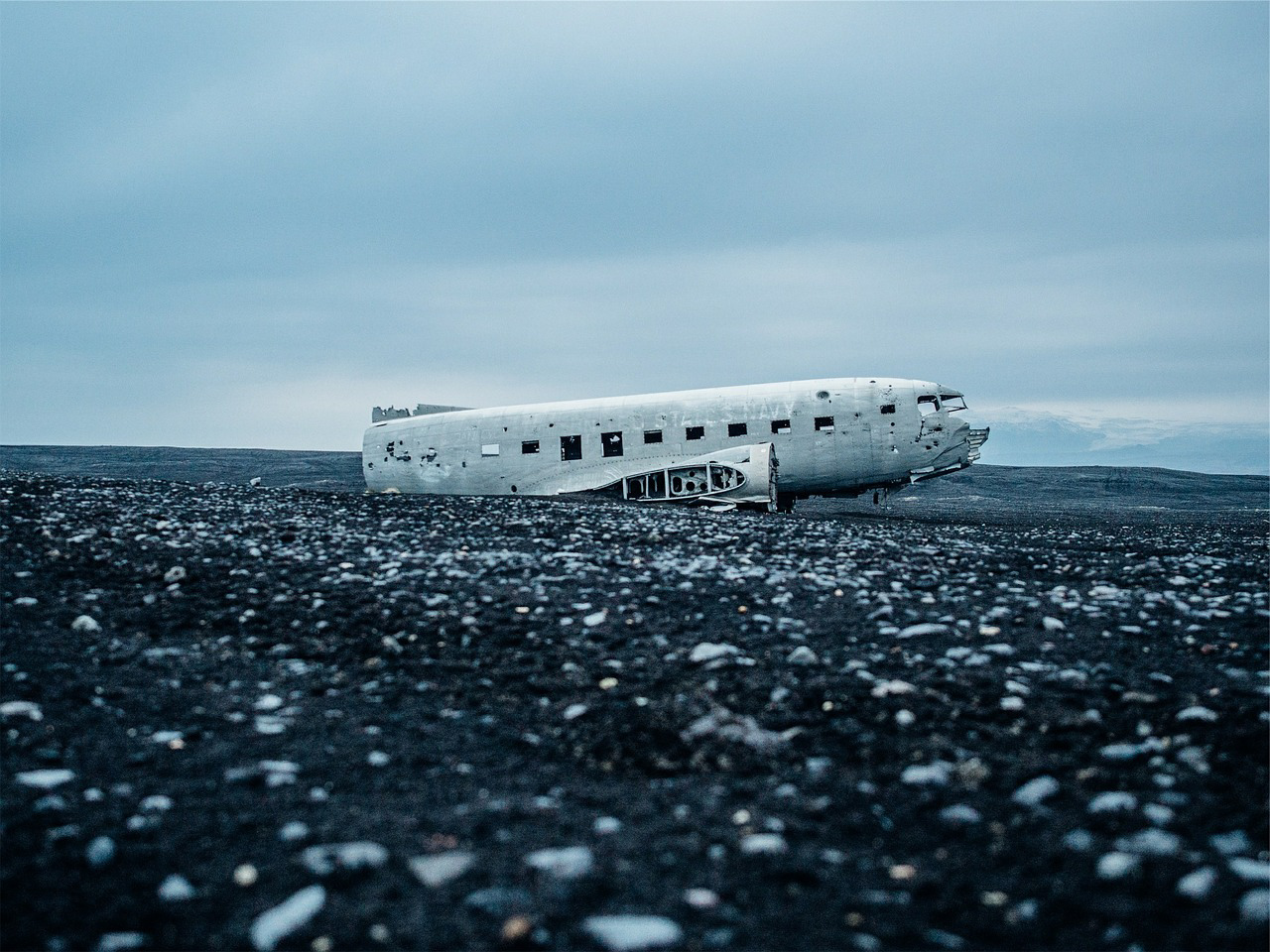 Plane wreck Iceland on black sand beach