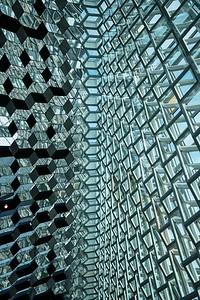 Harpa inside glass detail