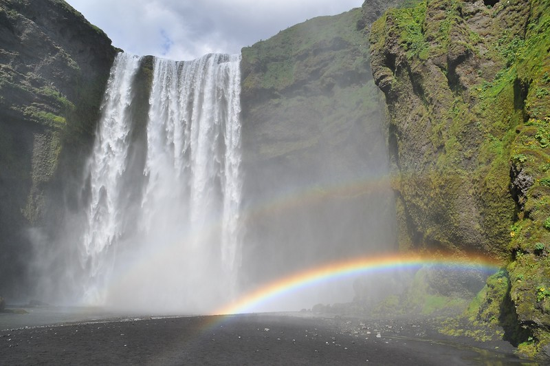 Rainbow at Skogafoss waterfall iceland