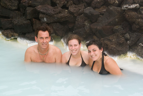 Richard, Jackie and Elyssa enjoy the warm waters of the Blue Lagoon