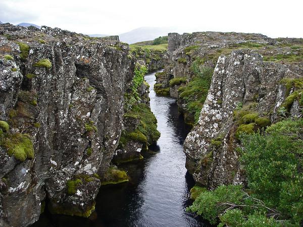 Thingvellir; rift between tectonic plates separating North America from Europe