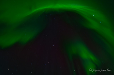 Aurora Borealis near the north pole (Northern lights)