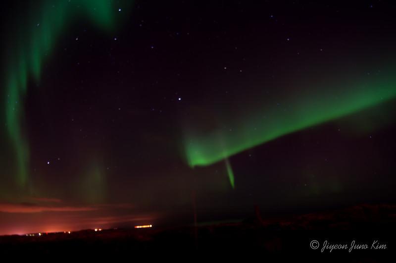 Aurora Borealis in Iceland near horizon (Northern lights)