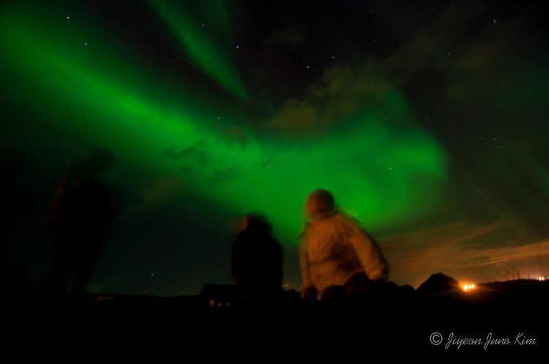 Enjoying Northern Lights in Iceland
