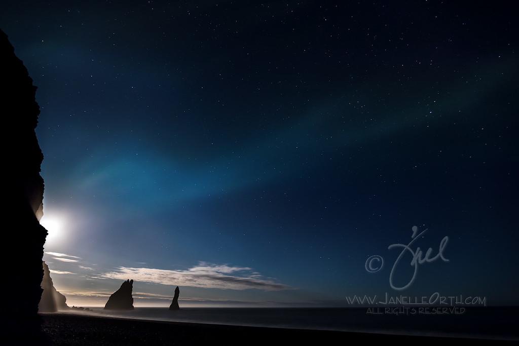 Moonrise over Reynisfjara Beach  ©2017  Janelle Orth