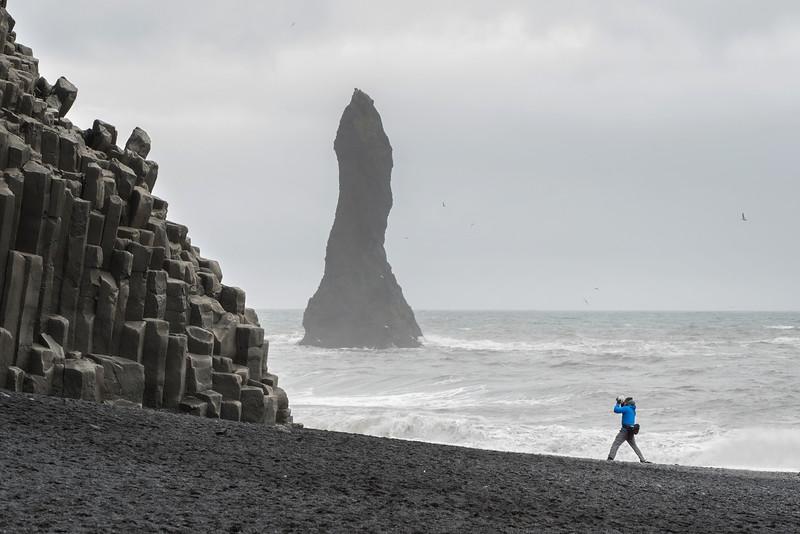 Chris braves the elements to get his shot.  Black Sand Beach, Vik.