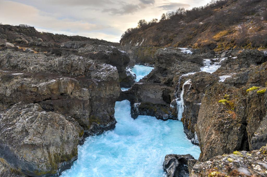 Glacial River Pool, Barnafoss, Iceland