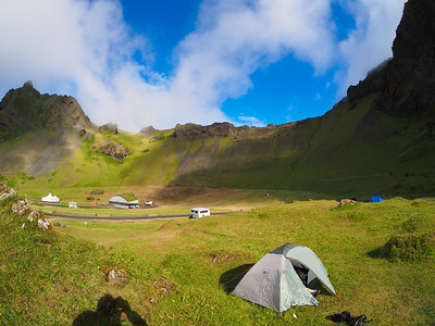 Our campsite in the caldera of an extinct volcano on Heimaey