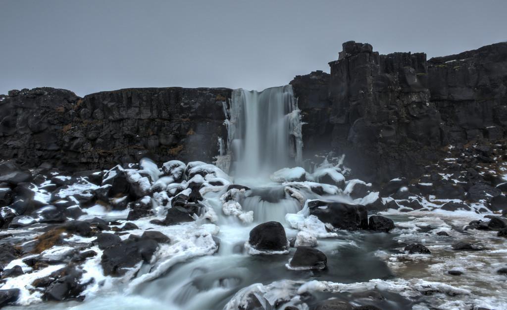 Oxarafoss Waterfall, Winter, Iceland