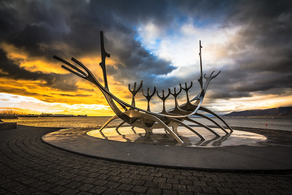 "The iconic piece of art work, ""The Sun Voyager""  in Reykjavik, Iceland."