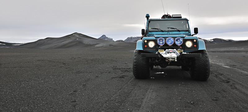 Land Rover Super truck at the foot of Ljösufjöll