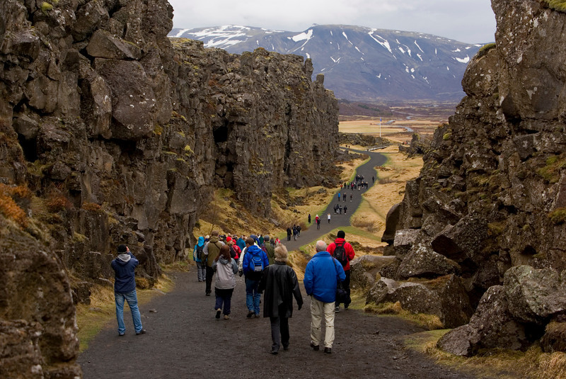 Walking in the gap between two continents - Thingvellir