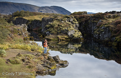Thingvellir National Park is home of Iceland's ancient Viking parliament and listed as a UNESCO's World Heritage site..One can observe the the geological wonder of the mid-Atlantic ridge, the drifting apart of the continental plate of Europe and North America. September, 2009 © Cody T Williams.