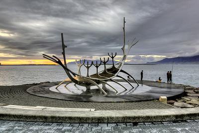 Sun Voyager (Icelandic: Sólfar) in Reykjavik, Iceland. Sculpture by Jón Gunnar Árnason.